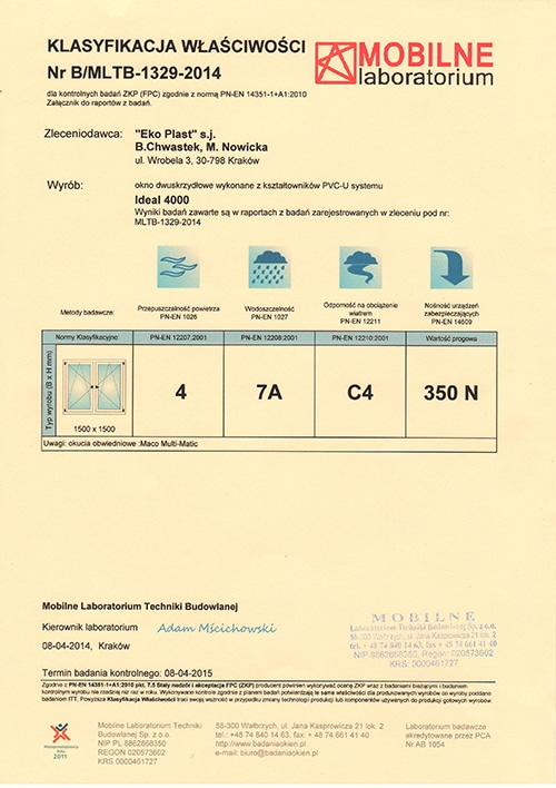Certyfikaty okna